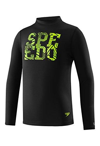 Speedo Boys Zip Zing Logo Long Sleeve Swim Tee Shirt, Speedo Black, Large