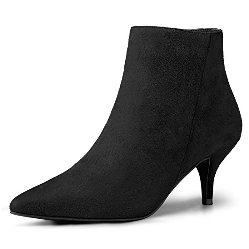 Allegra K Women's Pointed Toe Zip Stiletto Kitten Heel Ankle Booties Black