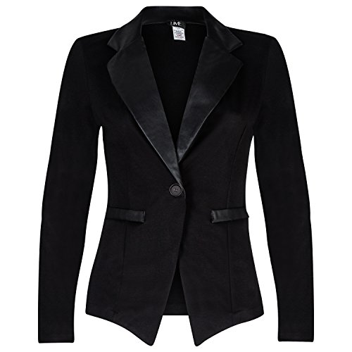 Contenta Women's Tuxedo Blazer. Dressy Long Sleeve PU Contrast Lapel Jacket. (xx-Large, Black/Black)