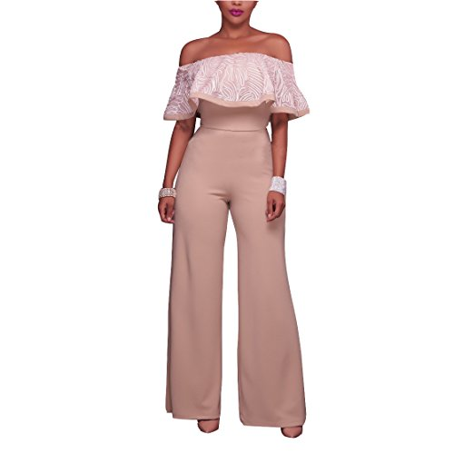 6fcf66f6a75 FOXRED Women Lace Off Shoulder High Waist Wide Leg Jumpsuit Rompers Evening  Wear lovely