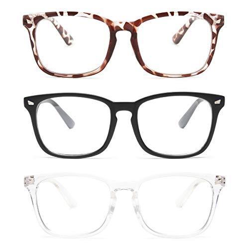Gaoye 3-Pack Reading Glasses Blue Light Blocking Computer Readers Anti UV Ray Fashion Square Nerd Eyeglasses Frames…