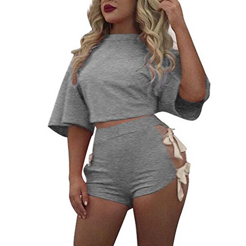 Wintialy Women Short Sleeve Bandage 2 Piece Set Short Pants Casual Outfit Sportswear Gray from Wintialy women clothes