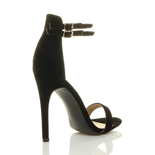 Womens ladies stiletto high heel barely there double strap buckle party sandals shoes size Black Suede 6mz75jSQyx
