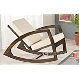 RjKart Solid Sheesham Wood Rocking Chair With Cushions
