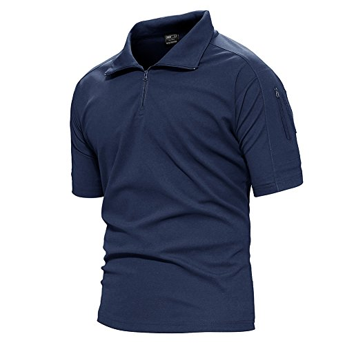 TACVASEN Mens Polyester Soft Comfort Paintball Airsoft Short Sleeve T Shirt Top Blue,US L/Tag 2XL