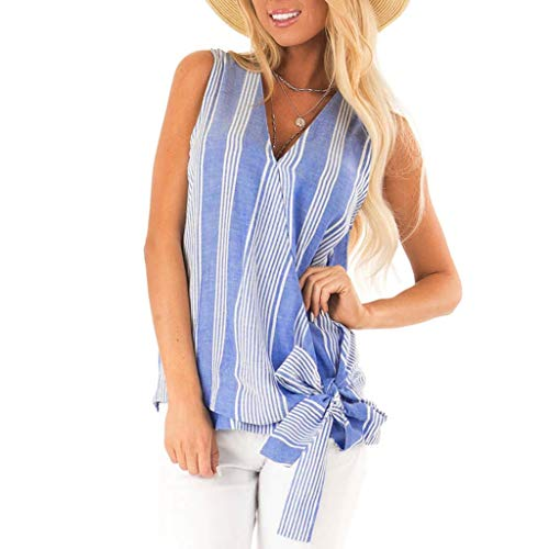 (Womola Womens Fashion Solid Blouse Tank Tops Summer Striped Printed Casual V Neck Sleeveless Tunic Tops(Blue,XL))