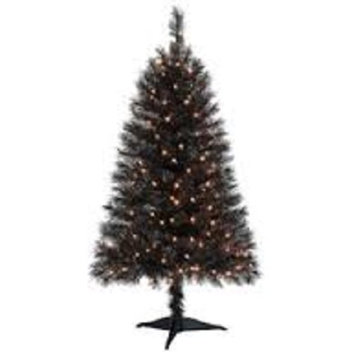 4 Ft Indiana Spruce Artificial Tree in Black with Clear Lights (Stand Included) (Tree Christmas Black Artificial)