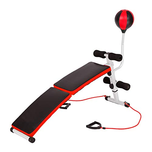 Utility Adjustable Weight Bench, Curved Sit Up Board Workout Slant Bench with Speed Ball and Pull Ropes (A)