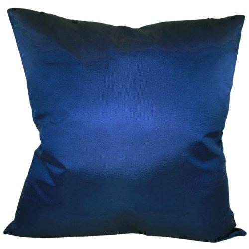 That's Perfect! Solid Color Decorative Silk Throw Pillow Sham - Fits 18'' x 18'' Insert (Dark Blue) by That's Perfect!