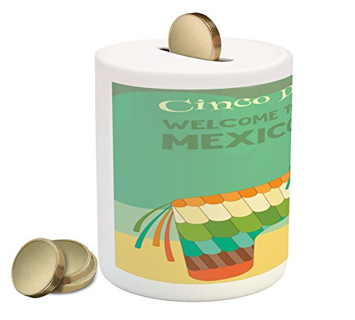 Lunarable Cinco De Mayo Piggy Bank, Welcome to Mexico Cinco de Mayo Saying with Traditional Pinata Party Print, Printed Ceramic Coin Bank Money Box for Cash Saving, Multicolor by Lunarable