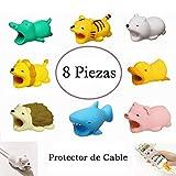 8 Piezas Protector de Cable USB para iPhone iPad iPod Diseño de Animales para Evitar Rompa y Prolongar Vida Útil de Cable de Dato