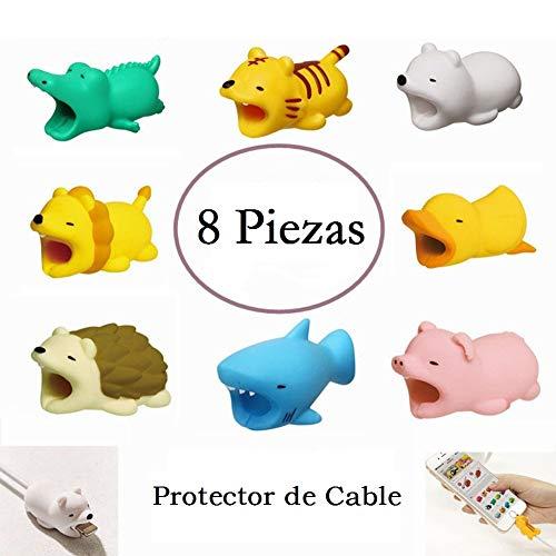 8 Piezas Protector de Cable USB para iPhone iPad iPod Diseño de Animales para Evitar Rompa y Prolongar Vida Útil de Cable...