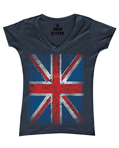 ion Jack British Flag Women's V-Neck T-shirt United Kingdom Flag Shirts X-Large Charcoal 0 (Union Flag)