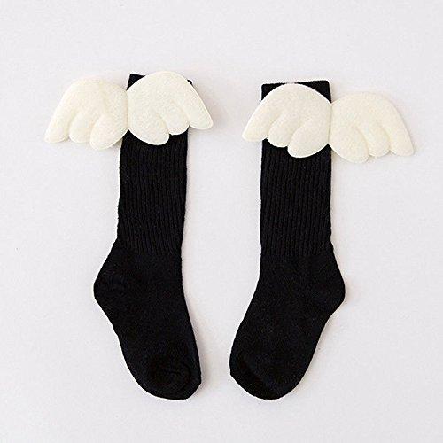 zooarts® para 1–10años Kid bebé niñas 3d alas de ángel calcetines largo rodilla calcetín medias niño otoño manguera, negro, Large