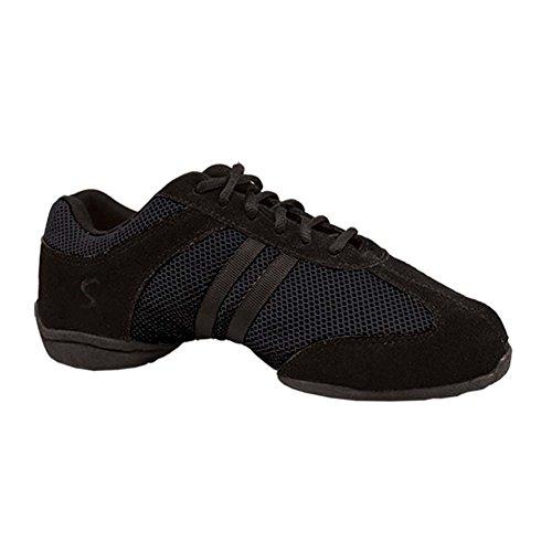 Sansha Volwassen Zwarte Split Enige Suede Dyna-mesh Lage Top Sneakers Dames 4-20