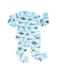"Pandabeauty Boys and Girls""blue dinosaur"" 2 Piece Pajama 100% Cotton (Size2T-7T)"