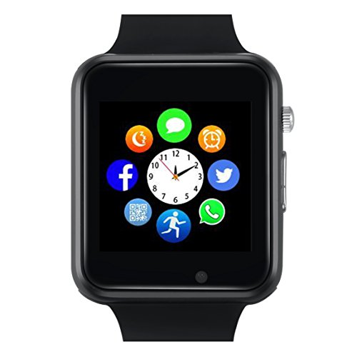 Unlocked Watch Cell Phone Count Steps Bluetooth Music Play by Smart Watch for IOS iPhone, Android Samsung HTC Sony LG Smartphones