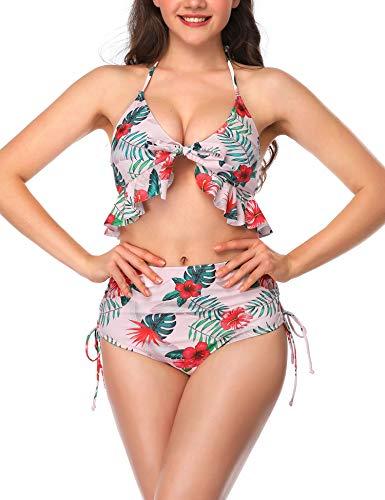 Verano Playa Women Tie FrontSwimsuit Two Piece V Neck Floral Printed Bikini Set