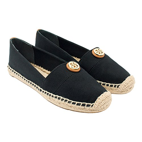 Tory Burch Espadrille Flat Canvas Shoes Sneakers Lonnie and Beacher (8,  Black)