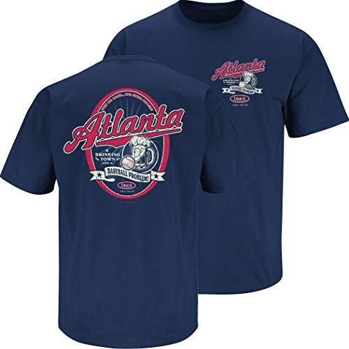 Atlanta Baseball Fans. A Drinking Town with a Baseball Problem Navy T-Shirt (Sm-5x) (Short Sleeve, X-Large)
