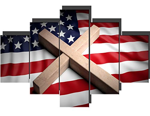 Cross Pictures for Living Room American Flag Wall Art Christian Paintings 5 Pcs/Multi Panel Canvas Patriotic Artwork Home Decorations Framed Stretched Ready to Hang Posters and Prints(60''Wx40''H)