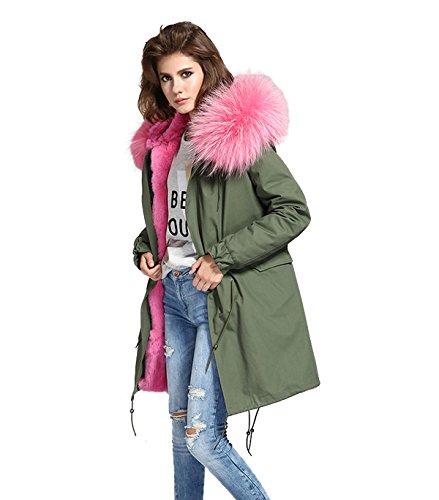 Parka XXL cuello de auténtica piel 100% pelo auténtico chaqueta abrigo caqui, en 8colores Rosa Pelz