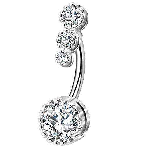 OUFER 316L Surgical Steel Belly Button Rings Clear CZ Navel Rings Belly Rings Belly Piercing