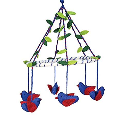 Blue Handmade 100/% Natural Felted Wool Wall Hanging Baby Nursery Decor Crib Mobile Multi-Colored Birds on a Ring with Leaves Theme