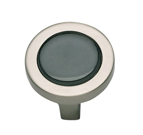 Atlas Homewares 229-BLK/BRN 1-1/4-Inch Spa Black Round Knob, Brushed Nickel