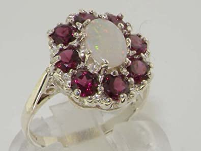 925 Sterling Silver Real Genuine Opal and Garnet Womens Band Ring