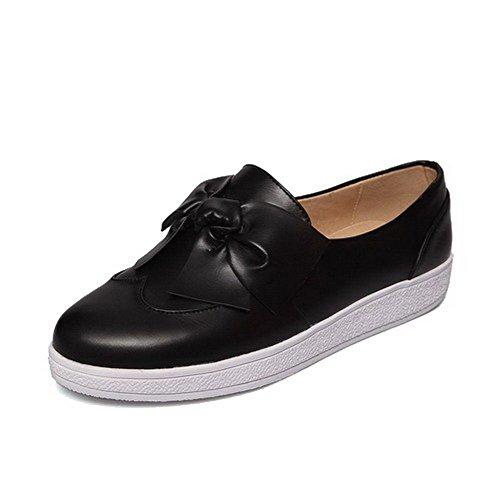 AgooLar Damen Rein PU Niedriger Absatz Rund Schließen Zehe Ziehen auf Pumps Schuhe Schwarz