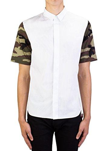 Dior Homme Men's Camouflage Sleeve Dress Shirt White - Dior Mens Homme