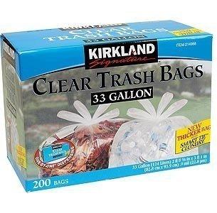 2 Wholesale Lots Kirkland Signature Clear Trash Bags 33 Gallon Bags, 400 Garbage Bags Total