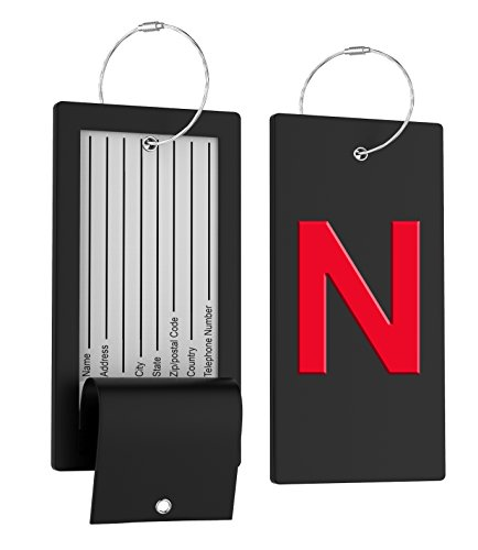 Luggage Tag Initial Bag Tag - Fully Bendable Tag w/Stainless Steel -