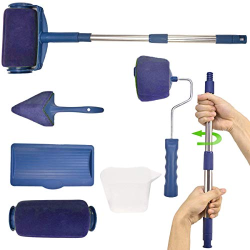 Paint Roller Brush Kit,MSDADA House Paint Rollers, Adjustable Rod, Paint Roller Pro, Multifunction Paint Runner Brush Set for House,School & Office PaintingWall,Ceiling(Blue)