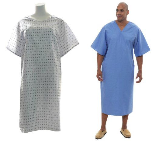 Medical Hospital Gown - 4 Pack (Blue and Snowflake Print)