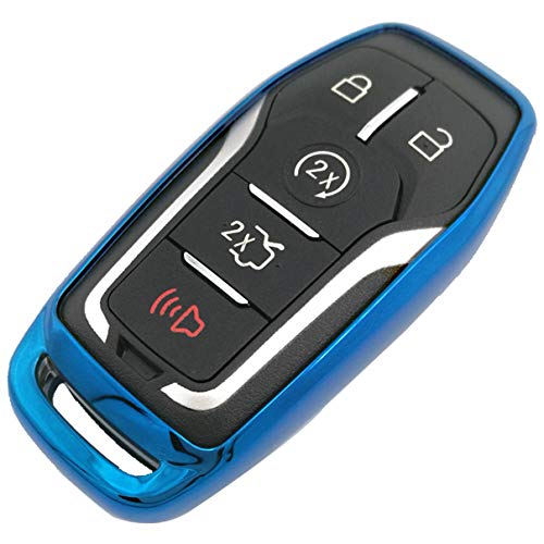 Blue TPU Key Fob Case Holder Jacket Protector for Ford Fusion F-150 Edge Explorer Mustang Lincoln MKZ MKC 2/3/4/5 Buttons Smart Key(NOT fit Flip/Folding key)