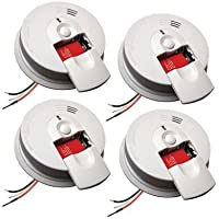 Kidde 21007588 Hardwired Interconnectable 120-Volt Smoke Alarm with Battery Backup, 4-Pack by Kidde