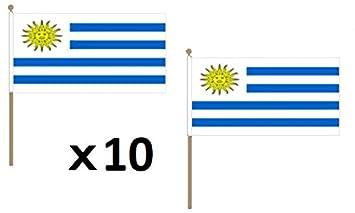 AZ FLAG Bandera de Uruguay 45x30cm con Palo de Madera - Lote de 10 Bandera URUGUAYA