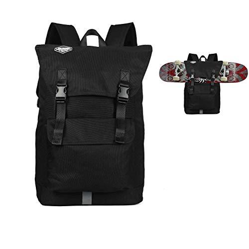Huntvp Fashion Sport Backpack Skateboard Backpack Holder Large Capacity Skateboard Not Included (Black)
