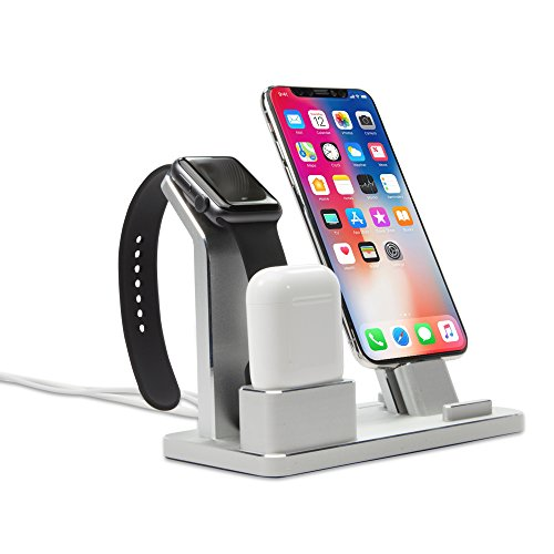 Charger, BoxWave [Universal Executive Desktop Charging station] for Smartphones and Tablets - Metallic Silver - Executive Charging Station