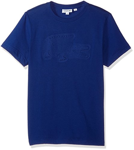 Lacoste Men's Tennis Short Sleeve Tech Jersey Embossed Tonal Croc T-Shirt, Ocean, ()
