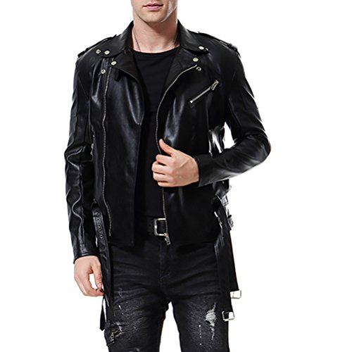 AOWOFS Men's Faux Leather Jacket Double Belt Punk Motorcycle Zip Slim Fit Black