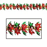 Poinsettia & Holly Garland/Column Party Accessory (1 count) (1/Pkg)