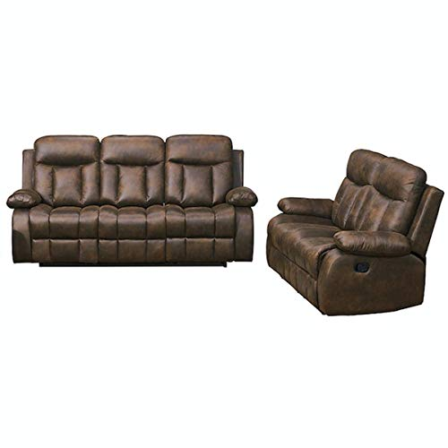 Betsy Furniture 2-PC Microfiber Fabric Recliner Set Living Room Set in Brown, Sofa Loveseat Chair Pillow Top Backrest and Armrests 8028-32 (Sets Microfiber Furniture)