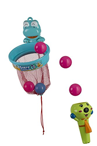 Flying Ball & Hoop Baby Bath Toy With Suction Cups and Shower Rod Hooks - Includes Launcher, 8 Balls & Basketball Hoop - 100% Waterproof - By Mix Maxx