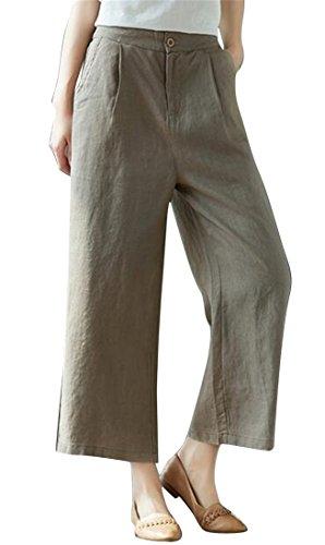 LD Women Casual Cotton Linen High Waist Flat-Front Comfy Wide Leg Palazzo Pants Camel (Flat Front Linen Skirt)