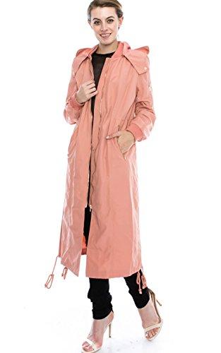Daisy Women's Zipper Pocket Detail Hooded Long Waterproof Jacket. (S, PEACH)