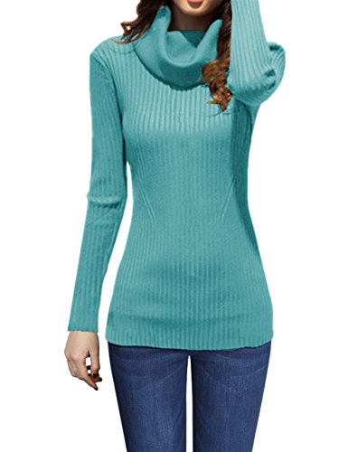 v28 Women Stretchable Cowl Neck Knit Long Sleeve Slim Fit Bodycon Sweater (Small, Jadeblue)