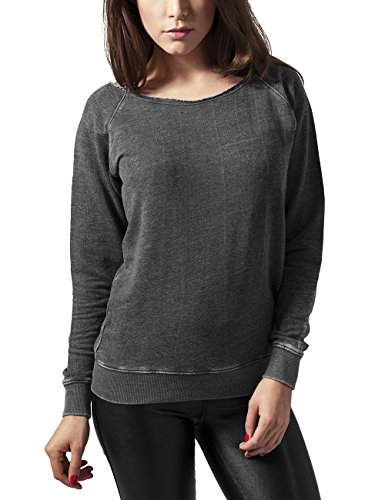 Urban Classics Ladies Burnout Open Edge Crew, Sudadera para Mujer Grau (darkgrey 94)